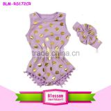 wholesale unique baby girl names images gold polk dots baby Romper baby girl pom pom romper kids clothes