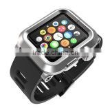 For Apple Watch Band Rubber Silicon Waist Strap+Metal Aluminum Case Cover With Metal Clip 38 42mm