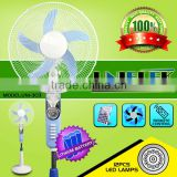 Portable 16 stand fan ventilation rechargeable battery solar fan with led light oscillation vertical cooling fan