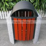 Cement stone and metal garbage can solid wood outdoor garbage can