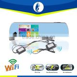 Wiring free No interference wireless wifi 5.0 inch Full HD car dvr gps rear view mirror reverse camera