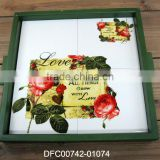 new rose love decal design serving dish platter with wooden frame