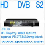 Full HD dvb-s2 download software,sell well global dvb-s2 with Biss/IPTV/3Dong/Multi CAD/Networking sharing receiver
