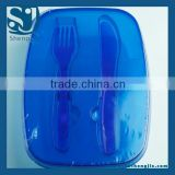 Trade assurance Microwavable plastic devided lunch box with fork & knife