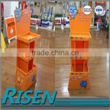 2015 recyclable extruded best price pp corrugated rack shelves with advertising poster board/pop up display stand