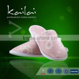 portable style hotel bathroom slipper/soft non-skid hotel shoe/cotton high quality beautiful slippers