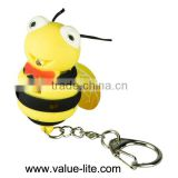 New product plastic led keychain light with sound button cell bee shape