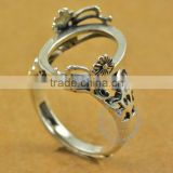 13*17.3mm 925 sterling silver antiqued silver vintage style oval flower bezel ring base blank supplies DIY findings 1223071