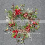 New arrival Artificial Florals and Berries Wreath,artificial Christmas snowy collections