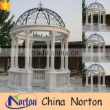 Norton white marble gazebo hand-carved marble summerhouse with bench NTMG-068L