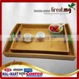 custom cheap serving bamboo tray with nonskid handle multi-function bamboo ware large wooden breakfast tea serving tray