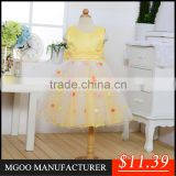 MGOO High Quality OEM Brand Girl Latest Design Baby Frock Yellow Dot Satin Community Dress 0-381