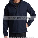 lightweight 100% polyester navy blue blank design full zipper wind / water proof men's soft shell jackets