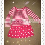 cotton dresses for gir red&white stripe top roes&white polka dots dresses baby boy dress designs