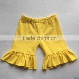 Hot sale baby kids summer clothes ruffle shorts children wear cotton knitted yellow solid color short pants
