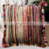 "Indian Latest Chindi Rag Cushion Cover 24"" Multi Decorative Cushion Cover Pillow Throw Cover Boho"