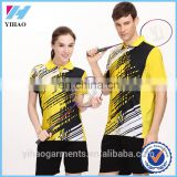 Yihao new fashion badminton shirts sport wear for women 2015 Custom Sublimation badminton jersey