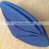 Blue uniform cap/femal lana cap 100% wool felt wear in airline/railways/hotel