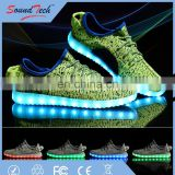Hight quality canvas upper material 7 colors USB charging adults changing led shoes