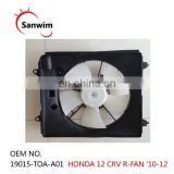 Fits HON-DA 12 C-R-V R-FAN '10-12 ENGINE RADIATOR COOLING FAN MOTOR SHROUD ASSY 19015-TOA-A01