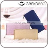 High Quality Fashion Genuine Leather Woman Long Zipper Clutch Wallet for Ladies