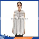 New Arrival Long Style 2015 Luxurious Whole Hide Big Bar Real White Fox Fur Vest With Trimming