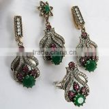 Unique Design !! Turkish Multi Colour 925 Sterling Silver 4 Pieces Set, Indian 925 Silver Jewelry, Handmade Silver Jewelry