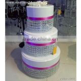 3 tier acrylic cake stand with hanging crystals;high quality plastic crystal cake decoration (cake-001)