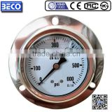 YTN-60BD Industrial grade Stainless case glycerine or silicone oil filled pressure gauge with front flange