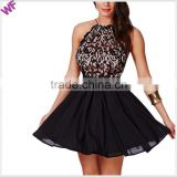 Fashion Lace Halter Dress, Short A-line Dress halter Top Evening Dress                                                                         Quality Choice