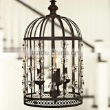 American Country Style Home Restaurant Decor Bird Cage Hanging Lighting Fixtures Chandelier Crystal Pendant Light CZ2509/3