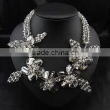 Dazzling statement Fashion clear acrylic flower neckalce double layered plastic beads chain necklace