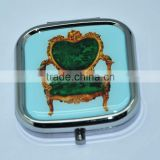 high quality blue arm chair metal cosmetic compact mirror
