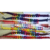 Hot Sale Wholesale Handmade colourful glass beads wax-cotton braided friendship bracelets