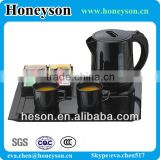 Hotel appliance electric plastic mini kettle with melamine tray set for hotel guest room                                                                         Quality Choice