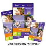 Quality A4/letter size professional premium high glossy RC inkjet photo paper 240g printed by dye&pigment ink,20 sheets one pack
