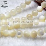 Natural white deep sea Pearl shell Tridacna round Faceted Loose beads Strand for Jewelry Making