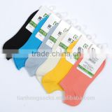Summer thin women breathable bamboo fiber boat socks candy color double cylinder socks