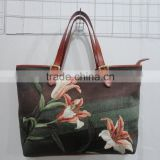 beautiful lily design silk embroidery lether material lady bag