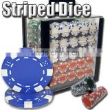 Striped Dice Casino ABS Poker Chip Set with Acrylic Case - 1000 Piece