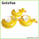 Promotional Items For 2016 Cute Duck Designs Custom PVC Inflatable Floating Drink Raft For Wholesale