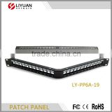 "LY-PP6A-19 RJ45 Angle Patch Panel 24-Port Cat6A STP 19"" 1U RJ45 Panel Mount Cable Matters Rackmount or Wallmount"