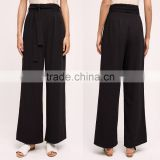 New fashion bow tie drop feelings long casual woman black chiffon pants