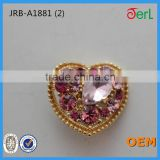 Fashion Design Wholesale Beautiful Heart-shaped Crystal Rhinestone Button for Upholstery Decoration in Bulk