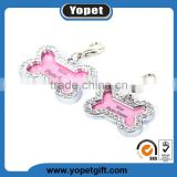 High Quality Crystal Rhinestone Pet Information Card For Dog Prevent Lost ID Tags With Many Shapes Wholesale