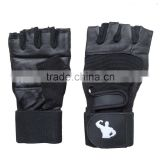 New Gym Muscle Bodybuilding Black Leather Gloves, Fitness Lifting Weight Training Gloves