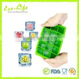 15 Square Cubes Silicone Ice Cube Tray, Fruit Ice Cube Maker Bar Kitchen Accessories