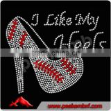 Fashion I Like My Heels Rhinestone Transfer Motif Wholesale Baseball Applique