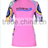 Ladies Short Sleeve Rash Shirt Sublimated Printed Sun Protection UPF50+ bjj Rash Guard for Wholesale