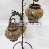 Handmade Mosaic Glass Lantern with iron stand